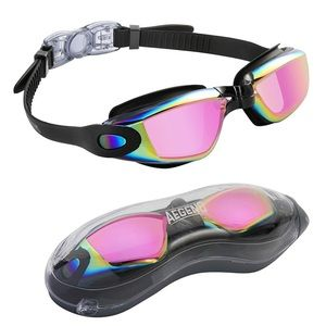 Aegend pink rose Swim Goggles with Protection Case